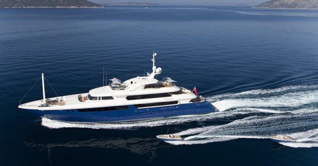 Aerial view of luxury yacht charter on Mary Jean II