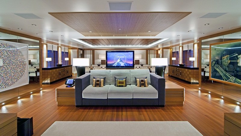 Entertainment lounge on luxury charter yacht Mary Jean II