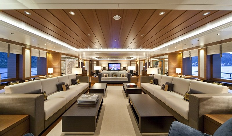 Spacious Lounge on Mary Jean II luxury Charter Yacht